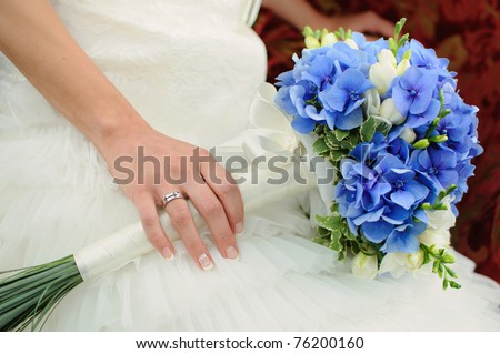 beautiful blue and white fresh flowers wedding bouquet - stock photo