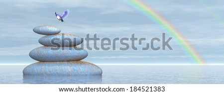 Beautiful blue bird flying upon stones in water under rainbow by clear day - stock photo