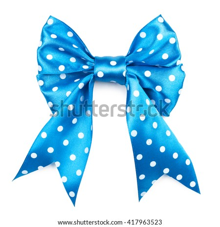 beautiful blue bow with white polka dots on a white background. - stock photo