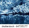 Beautiful blue christmas decoration - stock photo
