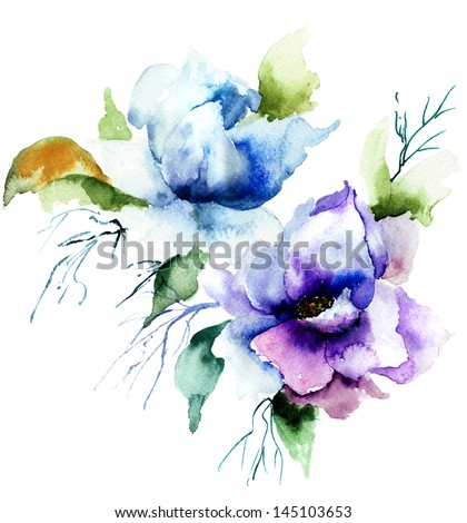 Beautiful Blue flower, Watercolor painting - stock photo