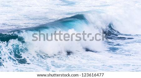 beautiful blue high waves of the atlantic ocean - stock photo