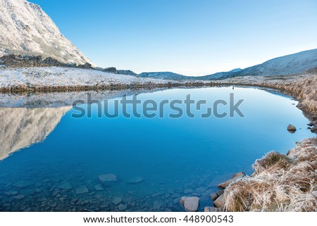 Beautiful blue lake in the mountains, morning sunrise time. Landscape with snow and frozen nature - stock photo