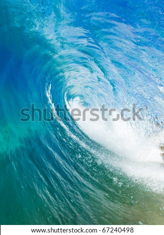 Beautiful Blue Ocean Wave, View inside the Barrel - stock photo