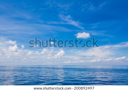 Beautiful blue sky and ocean, natural background - stock photo