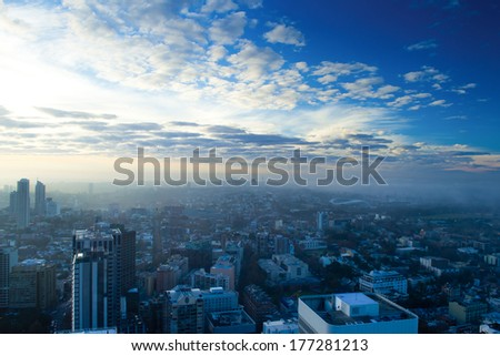 Beautiful blue sky during sunrise above the city of Sydney Australia  - stock photo