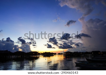 Beautiful blue sky during sunrise at Mabul Island, Sabah, Borneo, Malaysia  - stock photo