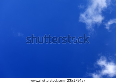 Beautiful blue sky with clouds at nice winter day - stock photo