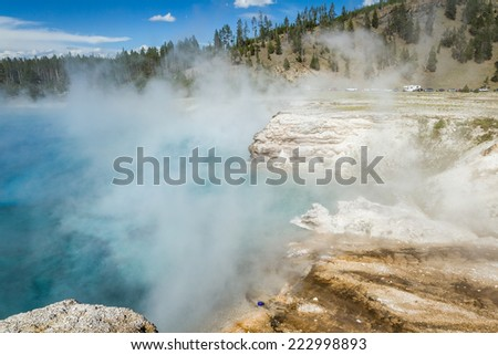 beautiful blue steaming pool in yellowstone national park - stock photo