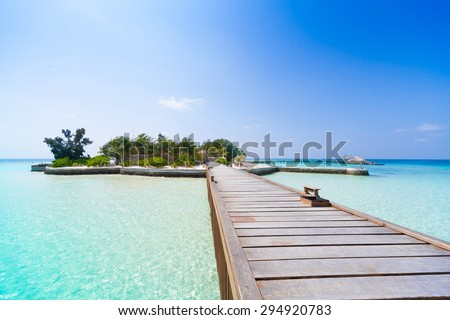 beautiful blue sun sea tropical nature background holiday luxury resort island atoll about coral reef amazing  fresh  freedom snorkel adventure day . Coconuts   - stock photo