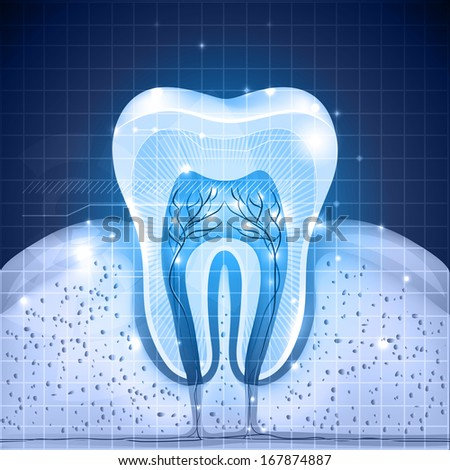 Beautiful blue tooth cross section. Detailed anatomy, abstract design with lights. - stock photo