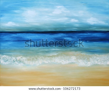 Beautiful, blue, tropical sea and beach. Original oil painting on canvas. - stock photo