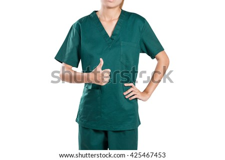 Beautiful body of female doctor in studio shot medical worker with stethoscope and hand thumbs up. - stock photo