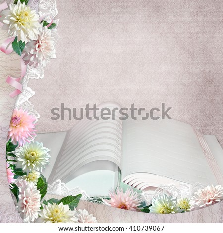 Beautiful borders with flowers and open album on the vintage background - stock photo
