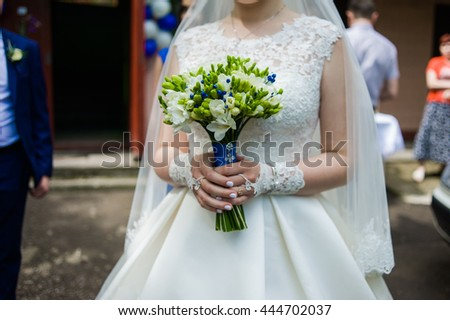 Beautiful bouquet before wedding ceremony - stock photo