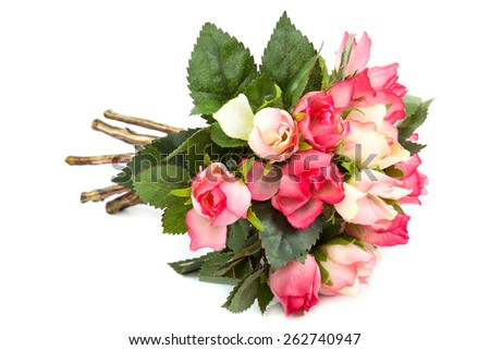 Beautiful bouquet of artificial roses isolated on white background. - stock photo