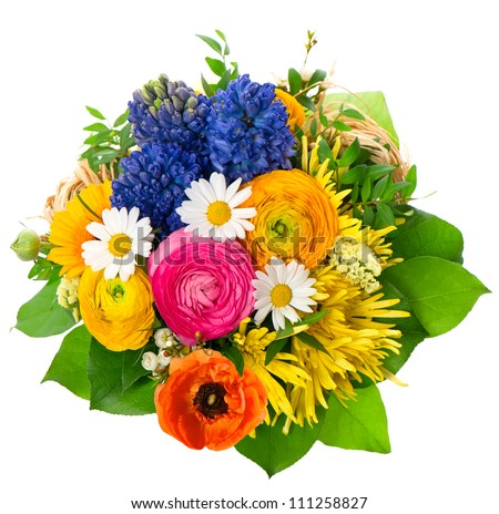 beautiful bouquet of assorted flowers. ranunculus, hyacinth, daisy, gerber, anemone - stock photo