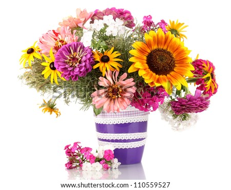 Beautiful bouquet of bright flowers isolated on white - stock photo