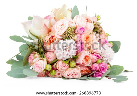 Beautiful bouquet of flowers isolated on white background - stock photo