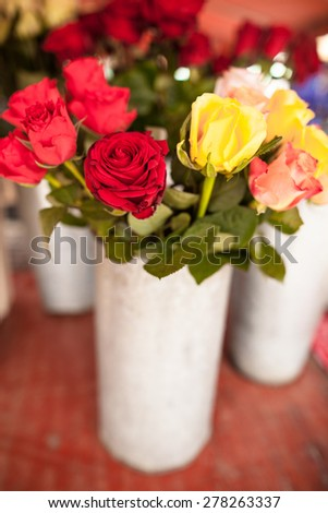 Beautiful bouquet of flowers with roses - stock photo