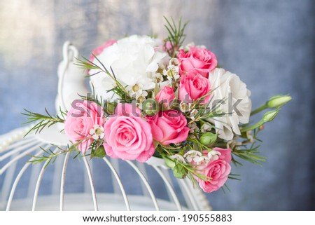 beautiful bouquet of flowers with white and pink roses - stock photo