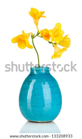 Beautiful bouquet of freesia in blue vase isolated on white - stock photo