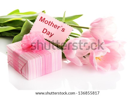 Beautiful bouquet of pink tulips and gift for Mother's Day, isolated on white - stock photo