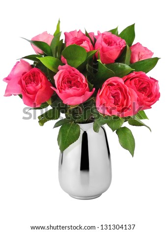 beautiful bouquet of red roses in vase - stock photo