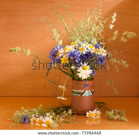 Beautiful bouquet of wild flowers - stock photo