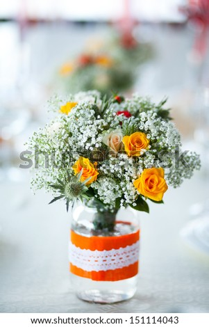 beautiful bouquet on the table - stock photo
