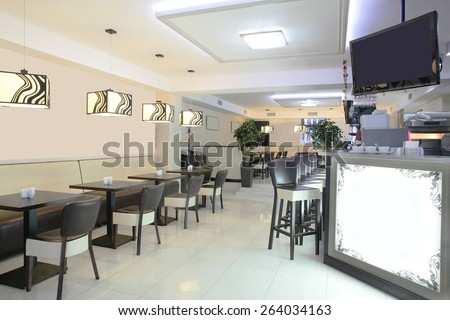 beautiful brand new european restaurant in downtown - stock photo