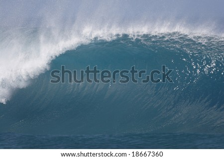 beautiful breaking wave - stock photo