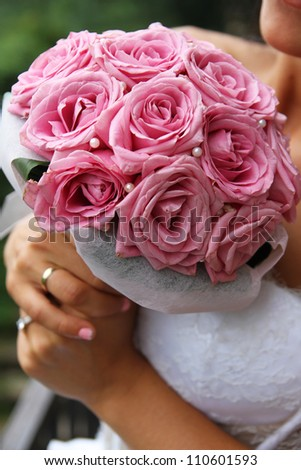 Beautiful bridal bouquet close-up - stock photo