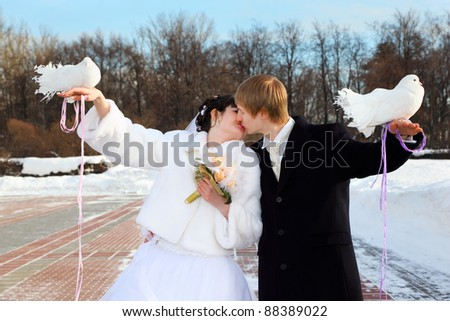 beautiful bride and groom hold white doves and kiss at winter outdoors - stock photo