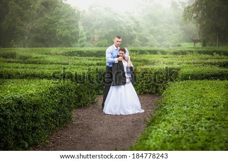Beautiful bride and groom hugging at garden maze - stock photo