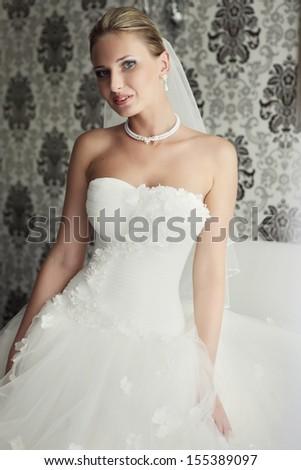 Beautiful bride classic photo - stock photo
