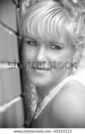 beautiful bride  his portrait ( monochrome) - stock photo