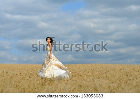 Beautiful bride in a wheat field - stock photo
