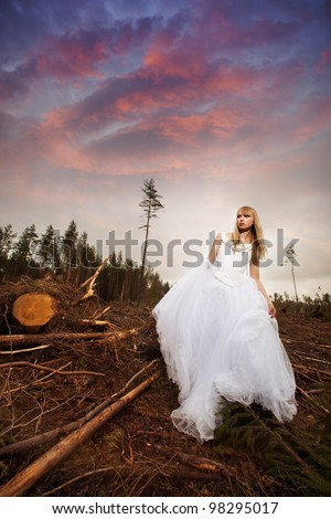 beautiful bride in the fairy forest - stock photo