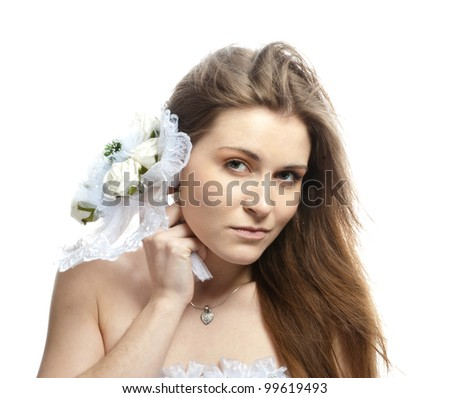 Beautiful bride in wedding dress - stock photo