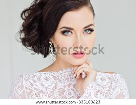 Beautiful bride in white dress.  - stock photo