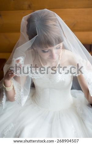 Beautiful bride on wedding day - stock photo