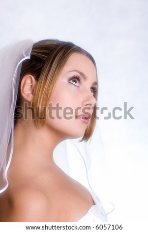 beautiful bride portrait - stock photo