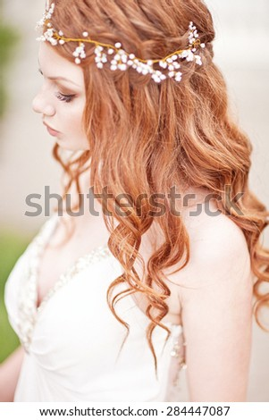 Beautiful bride portrait with pearl accessory. Fairy tail - stock photo