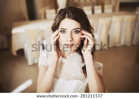 Beautiful bride posing. Wedding portrait of fiance.  - stock photo