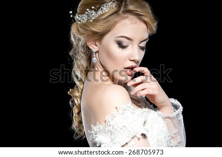 Beautiful bride. Wedding hairstyle - stock photo