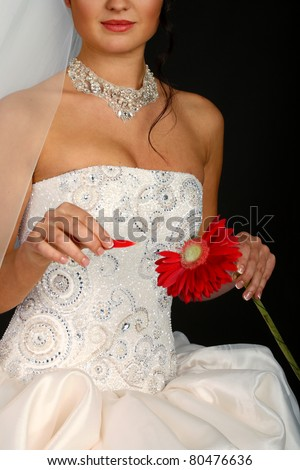 Beautiful bride with a red flower, isolated on black - stock photo