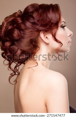 Beautiful bride with fashion hairstyle - stock photo
