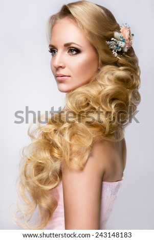 Beautiful bride with fashion wedding hairstyle. - stock photo