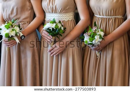 Beautiful bridesmaid bouquets - stock photo
